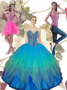 2015 Pretty Beading Sweetheart Tulle Quinceanera Dresses in Turquoise