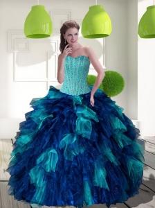 2015 Unique Multi Color Sweet 15 Dress with Beading and Ruffles