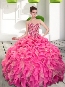 Dynamic Beading and Ruffles Sweetheart Quinceanera Dresses for 2015