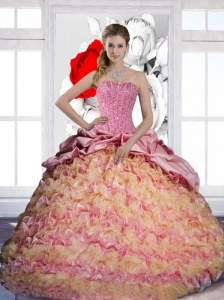 Latest Pick Ups and Ruffles Sweetheart 2015 Quinceanera Dresses in Multi Color