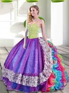 Pretty Multi Color Sweetheart Beading and Ruffles 2015 Quinceanera Dresses