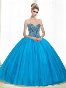 2015 Cheap Sweetheart Ball Gown Beading Quinceanera Dresses in Teal