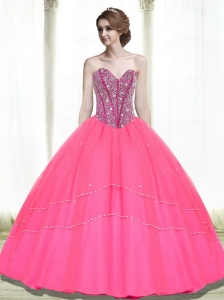 2015 Popular Ball Gown Beading Sweetheart Hot Pink Quinceanera Dresses