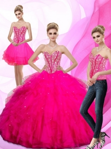 Gorgeous 2015 Beading and Ruffles Sweetheart Quinceanera Dresses