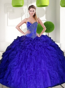 Gorgeous Peacock Blue Sweetheart Beading Ball Gown Quinceanera Dress with Ruffles