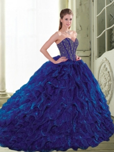 Modest 2015 Sweetheart Beading and Ruffles Navy Blue Quinceanera Dresses