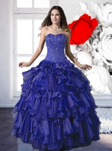 Pretty Beading and Ruffles Ball Gown Quinceanera Dresses for 2015