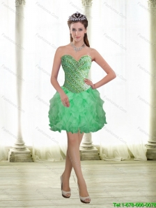 2015 Beautiful Apple Green Prom Dress with Beading and Ruffles