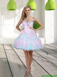 2015 Classical Beading and Ruffles Sweetheart Multi Color Prom Dress