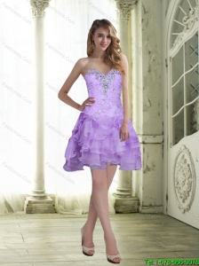 2015 Cute Sweetheart Short Prom Dress with Beading and Ruffles