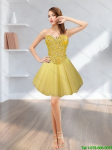 Popular Tulle Short Sweetheart Beading 2015 Gold Prom Dress