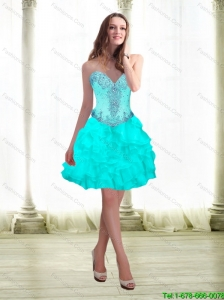 2015 Beautiful Beading and Ruffles Aqua Blue Prom Dress with Sweetheart