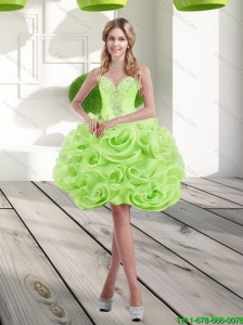 2015 Beautiful Sweetheart Short Rolling Flowers Prom Dress in Spring Green