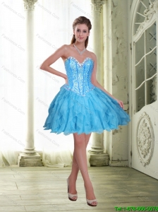 2015 Elegant Beading and Ruffles Short Prom Dress in Baby Blue