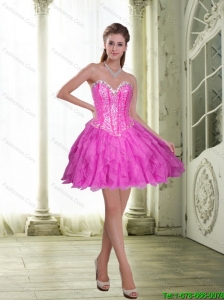 2015 Low Price Beading and Ruffles Short Prom Dress in Fuchsia
