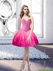 2015 Popular Sweetheart Beading and Ruffles Prom Dress in Multi Color