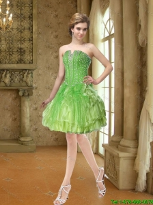 Affordable Beading and Ruffles Prom Dresses in Lime Green for 2015