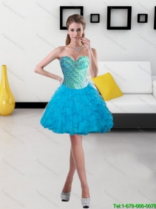 Beautiful 2015 Beading and Ruffles Short Prom Dress in Baby Blue
