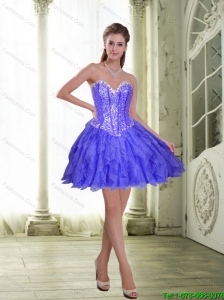 Beautiful Beading and Ruffles Short Lavender 2015 Prom Dress
