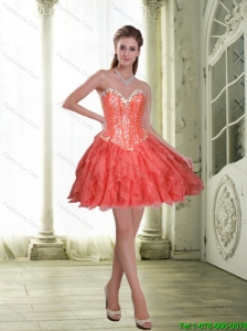 Exquisite Short Beading and Ruffles Coral Red Prom Dress for 2015