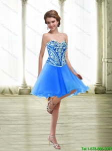 Fashionable Short Embroidery Royal Blue Prom Dresses for 2015