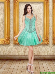 Gorgeous Beading and Ruffles Prom Dresses in Apple Green for 2015