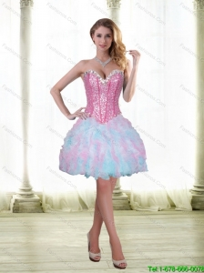 Luxurious Beading and Ruffles Short 2015 Prom Dress with Sweetheart