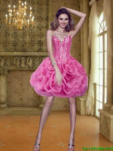 Modest Short Sweetheart Rolling Flowers Fuchsia Prom Dress for 2015