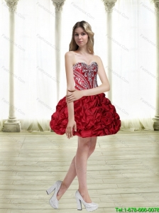 Most Popular Short Embroidery Wine Red Prom Dresses for 2015