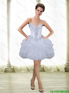 Perfect Short Beading and Ruffles White 2015 Prom Dress with Sweetheart