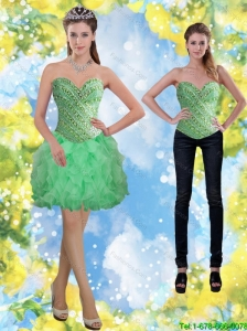 Detachable Apple Green Beading and Ruffles Prom Dress for 2015