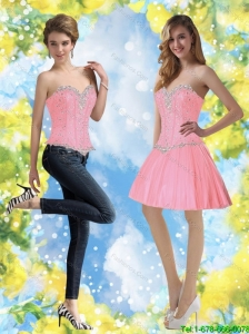 Detachable Baby Pink Prom Dress with Beading for 2015