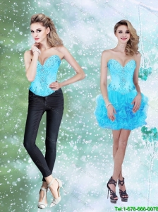 Detachable Beading and Ruffles Baby Blue 2015 Prom Dress with Sweetheart