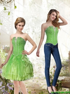 Detachable Lime Green Prom Dress with Beading and Ruffles for 2015