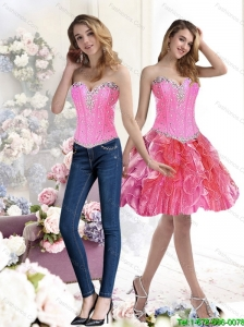 Detachable Multi Color Prom Dress with Beading and Ruffles for 2015