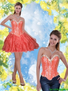 Detachable Short Beading and Ruffles Coral Red 2015 Prom Dress