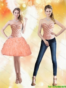 Detachable Sweetheart Short Peach 2015 Prom Dress with Beading and Pick Ups