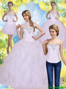 2015 Elegant Ball Gown 15 Quinceanera Dresses with Beading and Ruffles