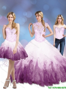 Exclusive 2015 Multi Color 15 Quinceanera Dresses with Beading and Ruffles