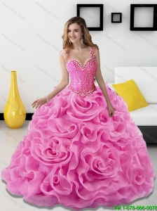 2015 Gorgeous Beading and Rolling Flowers Rose Pink 15 Quinceanera Dresses