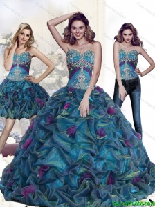 2015 New Style Appliques and Pick Ups 15 Quinceanera Dresses in Multi Color