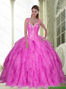 Fashionable Sweetheart Beading and Ruffles Fuchsia 15 Quinceanera Dresses  for 2015