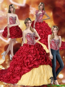 Gorgeous Embroidery Wine Red and Yellow 15 Quinceanera Dresses