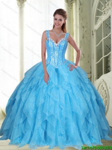 Latest Beading and Ruffles Baby Blue 15 Quinceanera Dresses  for 2015