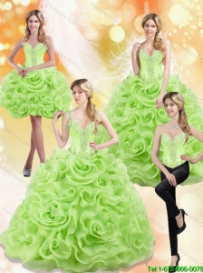 Modest Spring Green 15 Quinceanera Dresses with Beading and Rolling Flowers