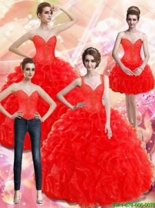 New Style Appliques and Ruffles Red 15 Quinceanera Dresses for 2015