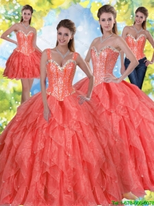 2015 Elegant Beading and Ruffles Quinceanera Dresses in Coral Red