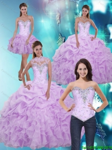 2015 Latest Sweetheart Quinceanera Dresses with Beading and Ruffles