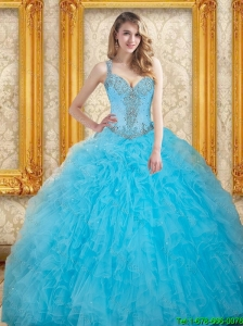 2015 Unique Beading Quinceanera Dresses  in Aqua Blue