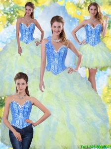 Classical Sweetheart Beading and Ruffles 2015 Quinceanera Dresses in Multi Color